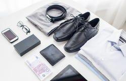 Zakończenie up formalny odzieżowy i osobisty materiał obrazy stock
