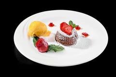 Zakończenie up gorącej czekolady deseru coulant tort Obraz Royalty Free