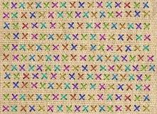 Zakończenie up kolorowy przecinający ściegu szczegół na projektant poduszce Zdjęcie Royalty Free