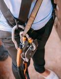Zakończenie up pięcie przekładni nicielnica, przygoda sporta wyposażenie obrazy stock
