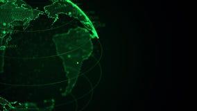 Zakończenie up piksla 3D planety ziemia z dużą dane animacją Płodozmienna kula ziemska, olśniewający kontynenty z unosić się licz royalty ilustracja