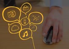 Zakończenie up ręka na komputerowej myszy z żółtymi biznesów doodles i ciemną narzutą Fotografia Stock