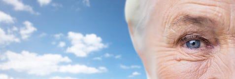 Zakończenie up starsza kobiety twarz, oko i Fotografia Stock