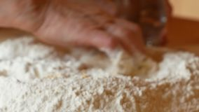 Zakończenie up starszy kobiety ` s ręki ugniatać zbiory