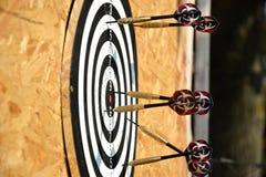 Zakończenie up strzałek strzała wtyka w cel desce Fotografia Royalty Free
