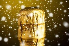 Zakończenie up szampański butelka korek zawijający w folii Obrazy Royalty Free