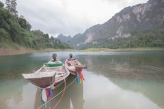 Zakończenie up 2 Tajlandzkiej łodzi na wybrzeżu Zdjęcia Stock