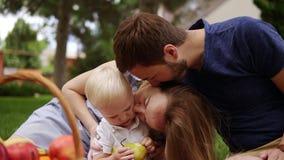 Zakończenie up wychowywa obsiadanie blisko do each inny z ich małym synem potomstwa Pinkin outdoors na szkockiej kracie Pykniczny zbiory