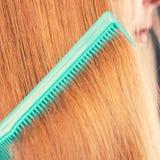Zakończenie up zieleni grępla w czerwonym włosy Zdjęcie Royalty Free