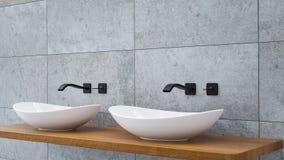 Zakończenie w górę łazienki bezcelowości basenu na wodden dębu wierzchołka bezcelowości z czarnym wodnym faucet 3D-Illustration zdjęcia stock