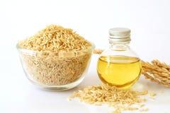 Zakończenie w górę brown ryż nasieniodajnego, ryżowego otręby oleju w i zdjęcie royalty free