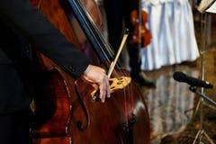Zakończenie w górę muzyk ręki bawić się dwoistego bas w salowym wydarzeniu obraz stock
