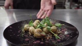 Zakończenie w górę szefa kuchni kładzenia talerza z ślimaczkami wyśmienity posiłek w kuchni zbiory