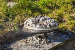 Zakończenie w górę widoku traditiona balkan grill odizolowywający Krajowy karmowy poj?cie knedle t?a jedzenie mi?sa bardzo wiele zdjęcia stock