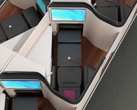 Zakończenie widok luksusowy klasa business apartament Opierać siedzenia w w pełni płaskim trybie royalty ilustracja