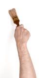 Zakończenie widok man& x27; s ręka z farby muśnięciem, odosobnionym na białym tle Obraz Royalty Free