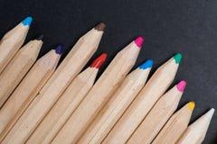 Zakończenie widok set drewniani kolorów ołówki Zdjęcia Royalty Free