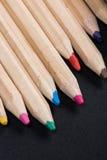 Zakończenie widok set drewniani kolorów ołówki Zdjęcia Stock