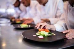 Zakończenie dekoruje jedzenie talerza szef kuchni Zdjęcie Royalty Free