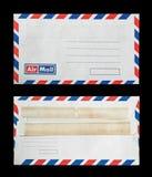 Zakończenie dwa starej koperty na czerni Zdjęcia Royalty Free
