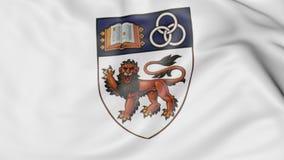 Zakończenie falowanie flaga z Krajowym uniwersytetem Singapur emblemata 3D rendering Zdjęcie Royalty Free