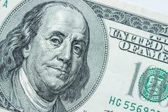 Zakończenie na Benjamin Franklin fotografia stock