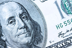 Zakończenie na Benjamin Franklin obrazy stock