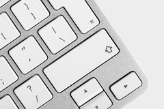 Zakończenie odgórny widok komputerowej klawiatury zmianowy klucz Zdjęcie Stock