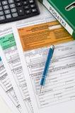Zakończenie Polski podatek dochodowy up tworzy na biurku Zdjęcie Stock