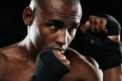 Zakończenie portret afroamerican bokser Fotografia Stock