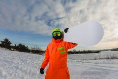 Zakończenie portret snowboarder Zdjęcia Royalty Free