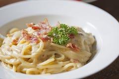 Zakończenie spaghetti carbonara zdjęcia royalty free