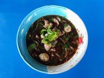 Zakończenie, Tajlandzki kluski jedzenie Serw z basilem, bobowe flance Kuay Obrazy Stock