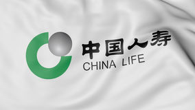 Zakończenie up falowanie flaga z China Life firmy ubezpieczeniowej logem, 3D rendering Fotografia Royalty Free