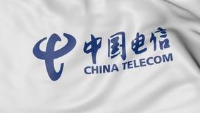 Zakończenie up falowanie flaga z China Telecom logem, 3D rendering Fotografia Royalty Free