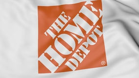 Zakończenie up falowanie flaga z Home Depot logem, 3D rendering royalty ilustracja