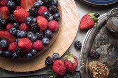 Zakończenie up jagody na owoc torcie Fotografia Stock