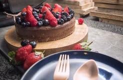 Zakończenie up jagody na owoc torcie Zdjęcie Royalty Free