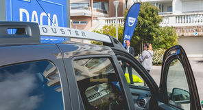 Zakończenie up na samochodach na Dacia wycieczce turysycznej 2017 Zdjęcia Royalty Free