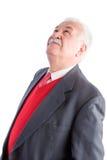Zakończenie up senior w garniturze i czerwonym krawacie Fotografia Royalty Free
