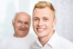 Zakończenie wnuk i dziad Zdjęcie Stock