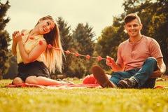 Zakochana para w parku Zdjęcia Stock