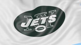 Zakończenie falowanie flaga z new york jets NFL futbolu amerykańskiego drużyny logem, bezszwowa pętla, błękitny tło editorial zbiory wideo
