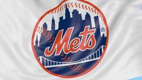 Zakończenie falowanie flaga z new york mets MLB drużyny basebolowa logem, bezszwowa pętla, błękitny tło Redakcyjna animacja zbiory