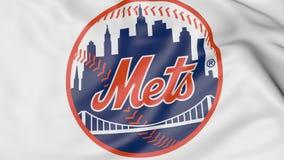 Zakończenie falowanie flaga z new york mets MLB drużyny basebolowa logem, 3D rendering Zdjęcie Royalty Free