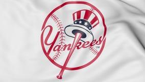 Zakończenie falowanie flaga z new york yankees MLB drużyny basebolowa logem, 3D rendering Zdjęcie Royalty Free