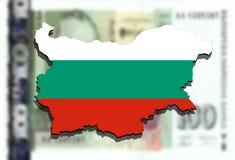 Zakończenie up na Bułgaria mapie na Bułgarskim lwa pieniądze tle Zdjęcie Stock