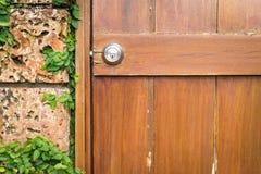 Dom w szczegółach: drzwi i ściana z zielenią. Obraz Stock
