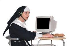 zakonnica komputerowa Obraz Royalty Free
