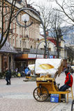 Zakopane försäljningar av oscypekostar på Krupowki royaltyfria foton